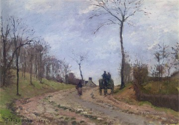 Road Oil Painting - carriage on a country road winter outskirts of louveciennes 1872 Camille Pissarro