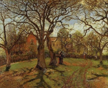 1870 Canvas - chestnut trees louveciennes spring 1870 Camille Pissarro