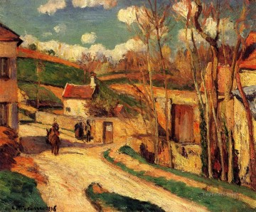 Road Oil Painting - crossroads at l hermitage pontoise 1876 Camille Pissarro