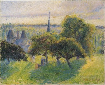Sunset Art - farm and steeple at sunset 1892 Camille Pissarro