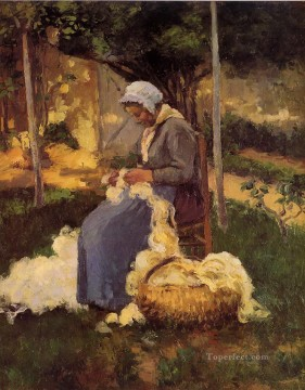 female peasant carding wool 1875 Camille Pissarro Oil Paintings
