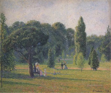 Sunset Art - gardens at kew sunset 1892 Camille Pissarro