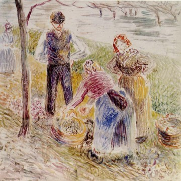 Pot Art - harvesting potatos Camille Pissarro