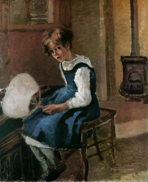 jeanne holding a fan Camille Pissarro Oil Paintings