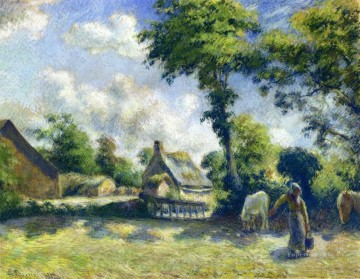 Horses Painting - landscape at melleray woman carrying water to horses 1881 Camille Pissarro