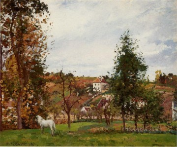 White Art - landscape with a white horse in a field l ermitage 1872 Camille Pissarro