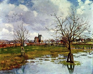 Flood Painting - landscape with flooded fields 1873 Camille Pissarro