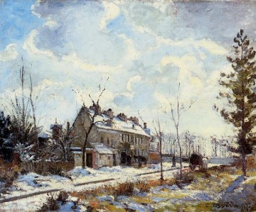 louveciennes road snow effect 1872 Camille Pissarro Oil Paintings