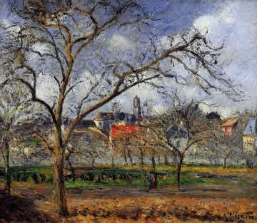 on orchard in pontoise in winter 1877 Camille Pissarro Oil Paintings