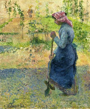 paysanne couchant 1882 Camille Pissarro Oil Paintings
