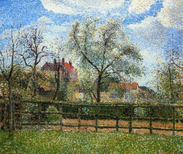 Morning Painting - pear trees and flowers at eragny morning 1886 Camille Pissarro
