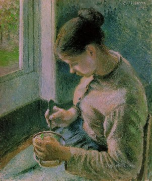 drinking - peasant girl drinking her coffee 1881 Camille Pissarro
