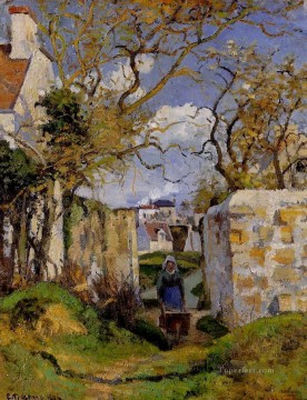 Row Painting - peasant pushing a wheelbarrow maison rondest pontoise 1874 Camille Pissarro