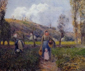autumn or the grape harvest Painting - peasant woman and child harvesting the fields pontoise 1882 Camille Pissarro