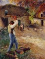 pere melon cutting wood 1880 Camille Pissarro
