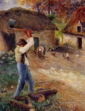 pere melon cutting wood 1880 Camille Pissarro Oil Paintings