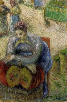 1883 Canvas - pumpkin merchant 1883 Camille Pissarro