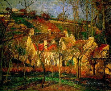 red roofs corner of a village winter 1877 Camille Pissarro Oil Paintings