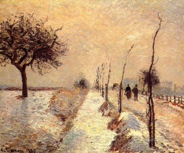 Road Oil Painting - road at eragny winter 1885 Camille Pissarro