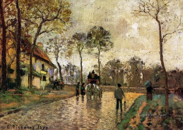1870 Canvas - stagecoach to louveciennes 1870 Camille Pissarro