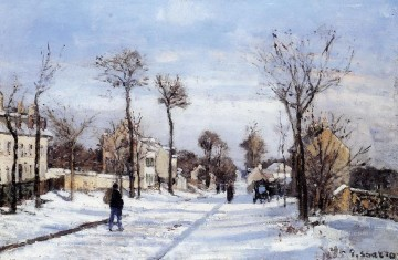 Camille Pissarro Painting - street in the snow louveciennes Camille Pissarro