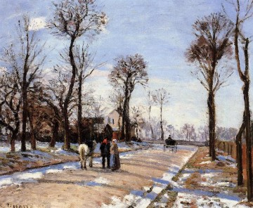 Tree Painting - street winter sunlight and snow Camille Pissarro