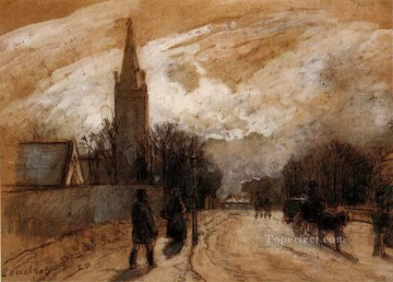 Camille Pissarro Painting - study for all saints church upper norwood 1871 Camille Pissarro