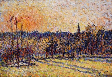 Sunset Art - sunset bazincourt steeple 1 Camille Pissarro