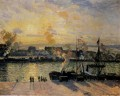 sunset the port of rouen steamboats 1898 Camille Pissarro