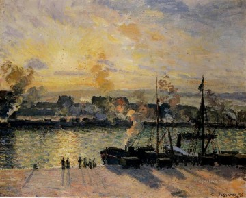 Sunset Art - sunset the port of rouen steamboats 1898 Camille Pissarro