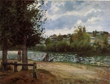 1870 Canvas - the banks of the oise at pontoise 1870 Camille Pissarro