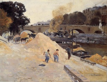 Paris Art - the banks of the seine in paris pont marie quai d anjou Camille Pissarro