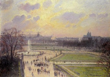 the bassin des tuileries afternoon 1900 Camille Pissarro Oil Paintings
