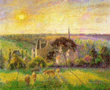 1895 Oil Painting - the church and farm of eragny 1895 Camille Pissarro