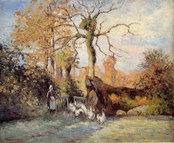 White Art - the goose girl at montfoucault white frost 1875 Camille Pissarro