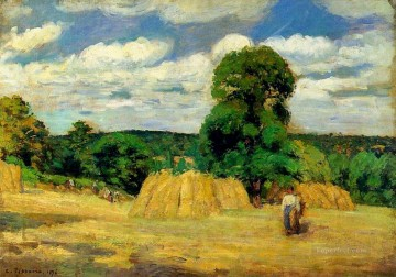 the harvest at montfoucault 1876 Camille Pissarro Oil Paintings