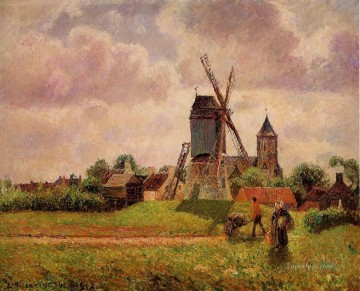 the knocke windmill belgium Camille Pissarro Oil Paintings