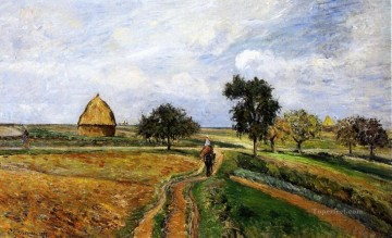 Road Oil Painting - the old ennery road in pontoise 1877 Camille Pissarro