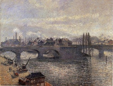 Morning Painting - the pont corneille rouen morning effect 1896 Camille Pissarro