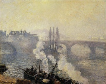 Morning Painting - the pont corneille rouen morning mist 1896 Camille Pissarro