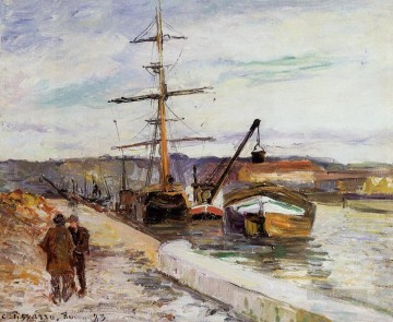the port of rouen 1883 Camille Pissarro Oil Paintings