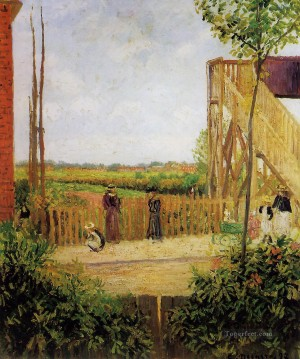 Road Oil Painting - the railroad bridge at bedford park 1 Camille Pissarro