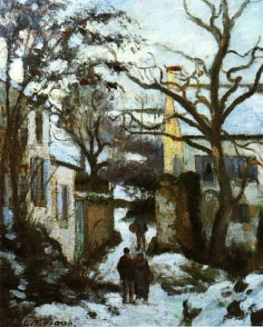 Road Oil Painting - the road to l hermitage in snow Camille Pissarro