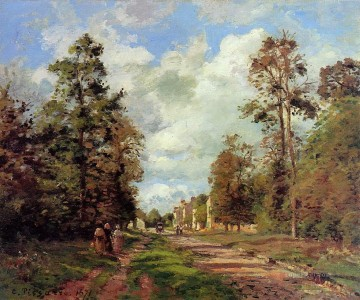 Road Oil Painting - the road to louveciennes at the outskirts of the forest 1871 Camille Pissarro
