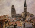 the roofs of old rouen grey weather 1896 Camille Pissarro