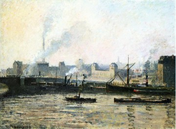 1896 Oil Painting - the saint sever bridge at rouen fog 1896 Camille Pissarro