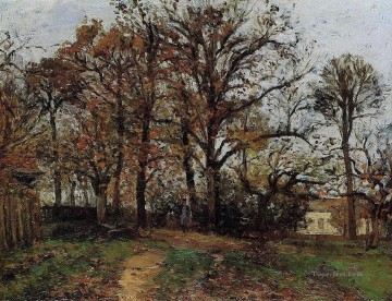 trees on a hill autumn landscape in louveciennes 1872 Camille Pissarro Oil Paintings