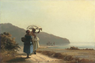 hat Oil Painting - two woman chatting by the sea st thomas 1856 Camille Pissarro