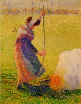 woman burning wood Camille Pissarro Oil Paintings