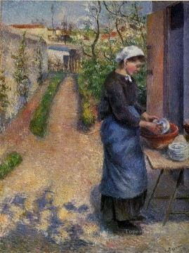 young woman washing plates 1882 Camille Pissarro Oil Paintings